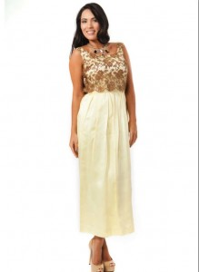 Image of Wheatfields full length dress with lace bodice, Summer 2012 collection