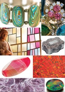 Some of the elements of Australia that inspired the 2013 collection: opals, colours of the outback